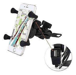 Suporte de Celular para Moto Universal com Carregador USB - TQ004