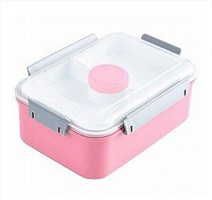 Pote para Marmita com 3 Compartimentos + Pote para Molho 1400ml Jacki Design AWM17223 Cor:Rosa