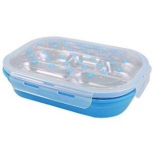 Pote para Marmita com 5 Compartimentos 1100ml Jacki Design - AWM17222 Cor:Azul