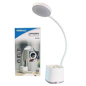 Luminária de Mesa 18 LEDs 164 Lumens Branco NSBAO - YG-T110