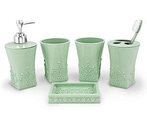Kit de Banheiro com 5 Peças Life Style Jacki Design - AYJ17173 Verde