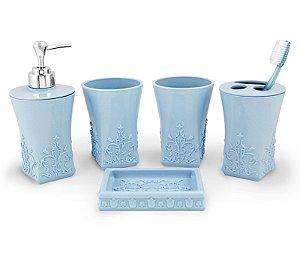 Kit de Banheiro com 5 Peças Life Style Jacki Design - AYJ17173 Azul