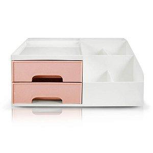 Organizador Multiuso de 2 Gavetas Jacki Design - AHX20905 Rosa