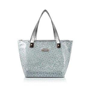 Bolsa Shopper Transparente Diamantes Prata Jacki Design - ABC17573