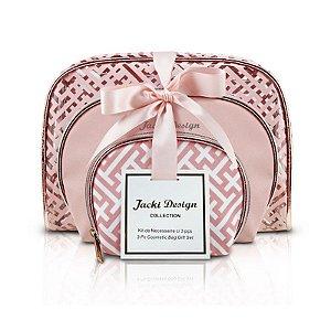 Kit de Necessaire com 3 Peças Diamantes Rosa Jacki Design - ABC17380