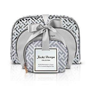 Kit de Necessaire com 3 Peças Diamantes Prata Jacki Design - ABC17380
