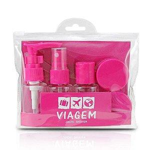 Kit de Frascos para Viagem 7 Peças Pink Jacki Design - AKM20903
