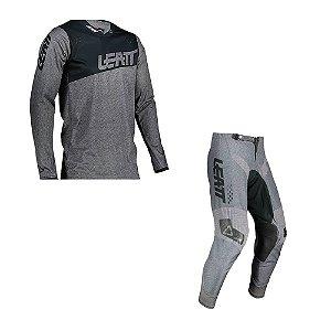 Conjunto Calça + Camisa Leatt Moto 4.5 Cinza Brushed