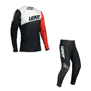 Conjunto Calça + Camisa Leatt Moto 4.5 Preto Branco