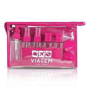 Kit de Frascos Viagem 10 peças Pink Jacki Design - AKM20901