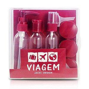 Kit de Frascos para Viagem 9 Peças Vinho Jacki Design - AKM20902
