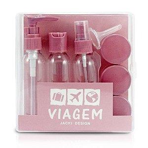 Kit de Frascos para Viagem 9 Peças Rosa Jacki Design - AKM20902