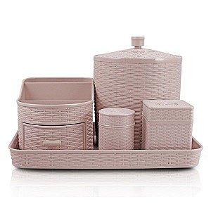 Kit Organizador de 5 Peças (Rattan) AHX18682 - Jacki Design Cor:Rosa