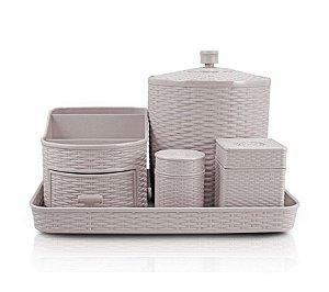 Kit Organizador de 5 Peças (Rattan) AHX18682 - Jacki Design Cor:Branco
