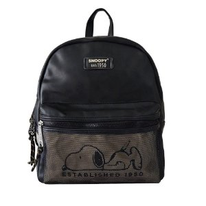 Bolsa Mochila Feminina Snoopy Move On Preto Semax - SP3904