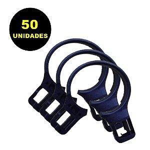 50 Argolas de Plástico para Cabide Antifurto Universal Preto