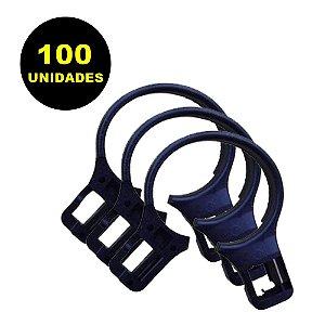100 Argolas de Plástico para Cabide Antifurto Universal Preto