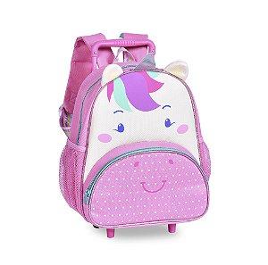 Mochila Infantil Escolar CLIO com Rodinhas Unicórnio Rosa CP2204B