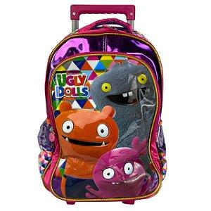 Mochila Escolar Infantil com Rodinha Ugly Dolls Rosa Clio UG2300K