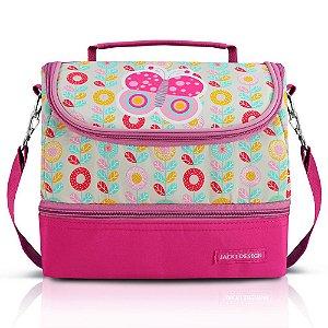 Lancheira Térmica com 2 Compartimentos Pequeninos Borboleta Pink Jacki Design - AHL17389