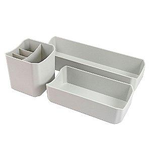 Organizador Multiuso de 3 Peças Loft Cinza Jacki Design - AWF20919