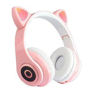 Fone de Ouvido Headphone Orelha de Gato Bluetooth com LED Taisiho - TO-89 Rosa