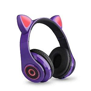 Fone de Ouvido Headphone Orelha de Gato Bluetooth com LED Taisiho - TO-89 Roxo