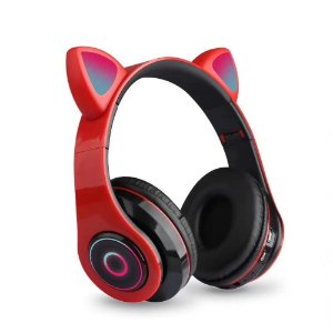 Fone de Ouvido Headphone Orelha de Gato Bluetooth com LED Taisiho - TO-89 Vermelho