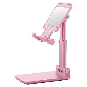 Suporte de Mesa para Celular Smartphone Tablet Rosa