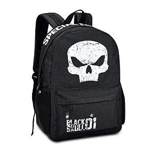 Mochila Escolar Masculina Black Skull BS3212 Preto