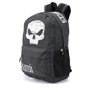 Mochila Escolar Masculina Black Skull BS3212 Cinza