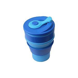 Copo de Silicone Retrátil 400ml Azul - Kathavento