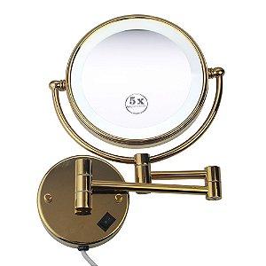 Espelho de Aumento com Luz Led Dupla Face para Parede Panther 8 Polegadas  PTH1308-DOURADO