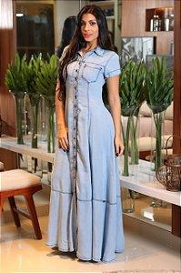 Vestido longo jeans rodado com mangas e botões
