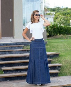 Saia Jeans Longa Plus Size Moda Evangelica