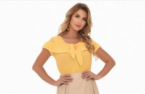 Blusa Fasciniu's Amarela  Bordada Moda Evangélica