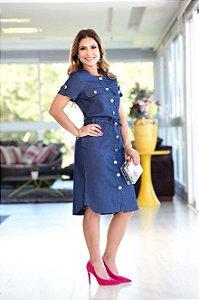 Vestido Chemise Chamisier Jeans Midi Moda Evangélica