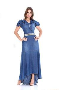 Vestido Jeans Longo Mullet Com Babados Moda Evangélica