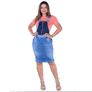 Salopete Jeans Ziper Destroyed Roupas Evangélicas