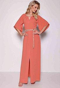 Vestido Longo Fenda Fasciniu's Moda Evangélica
