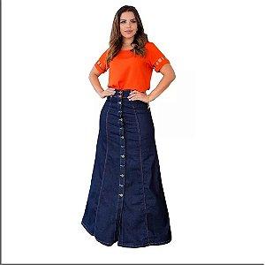 Saia Jeans Longa Moda Feminina Joyaly Roupas Evangelicas