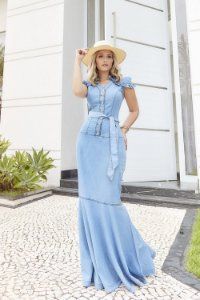 Vestido Evangelico Jeans Longo Sol Da Terra Moda Evangelica