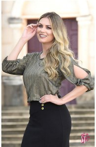 Blusa Feminina Sol Da Terra Lurex Luxo Moda Evangelica