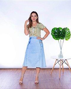 Saia Jeans Midi Moda Comportada Joyaly Evangelica
