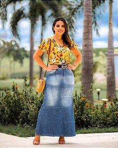 Saia Jeans Longa Com Recortes Joyaly Moda Evangelica