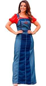 Salopete Vestido Jeans Longo Feminino Evangélico Joyaly