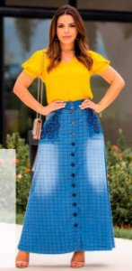Saia Jeans Longa Moda Evangélica Botões Roupas Femininas
