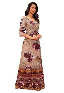 Vestido Longo Crepe Feminino Fasciniu's Moda Evangélica