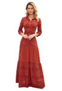 Vestido Feminino Longo Lese Renda Fascinius Moda Evangélica