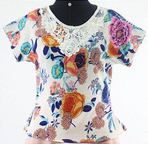 Blusa Em Crepe Feminina Estilo T-shirt Floral Evangélica